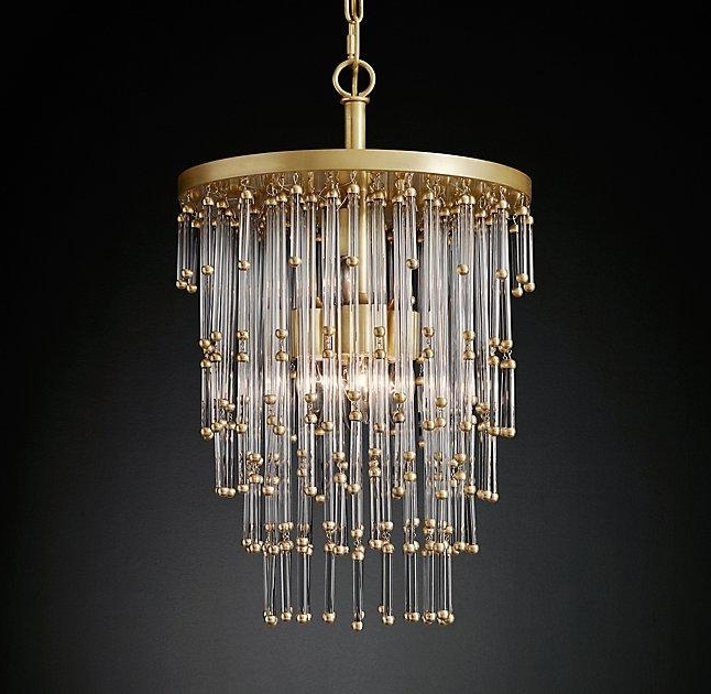 Most Recently Released Brass And Glass Chandelier Inside Tipped Glass Waterfall Chandelier (View 6 of 10)