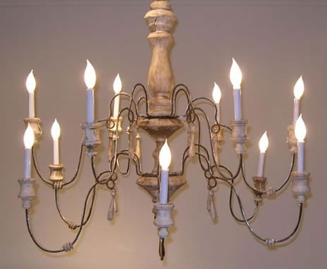 Most Recently Released Country French Lilu Interiors Wooden Chandelier Wood Wrought Iron Intended For French Wooden Chandelier (View 7 of 10)