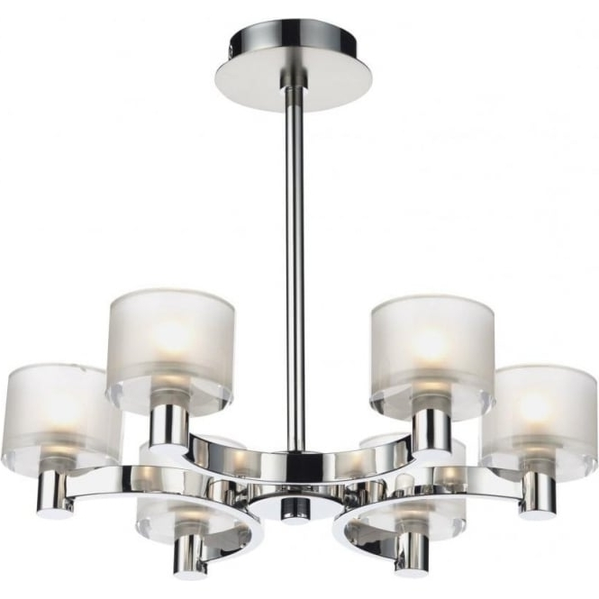 Most Recently Released Dar Lighting Eton 6 Light Chandelier Fitting In Satin And Polished With Modern Chrome Chandelier (View 8 of 10)