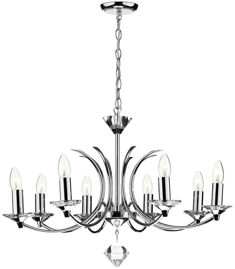 Most Recently Released Dar Medusa Modern 8 Light Dual Mount Chandelier Chrome Med0850 With Regard To Modern Chrome Chandelier (View 9 of 10)