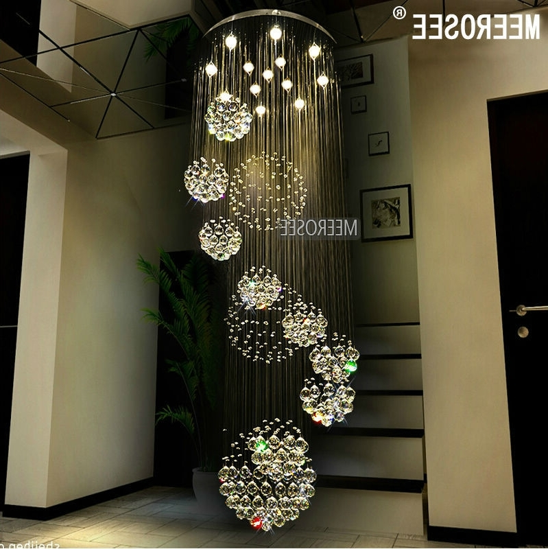 Most Recently Released Modern Chandelier Large Crystal Chandelier Light Fixture For Lobby Within Long Modern Chandelier (View 5 of 10)