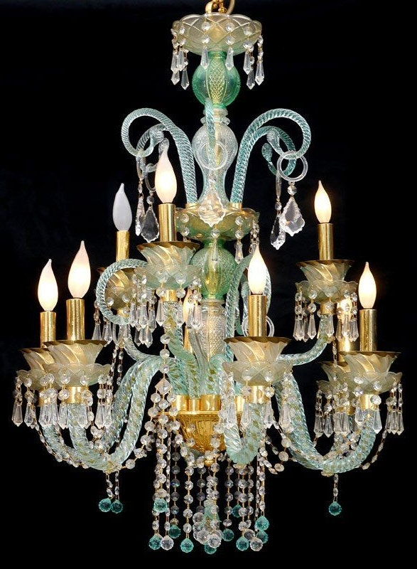 Most Recently Released Murano Glass Chandelier Turquoise Color (Gallery 9 of 10)