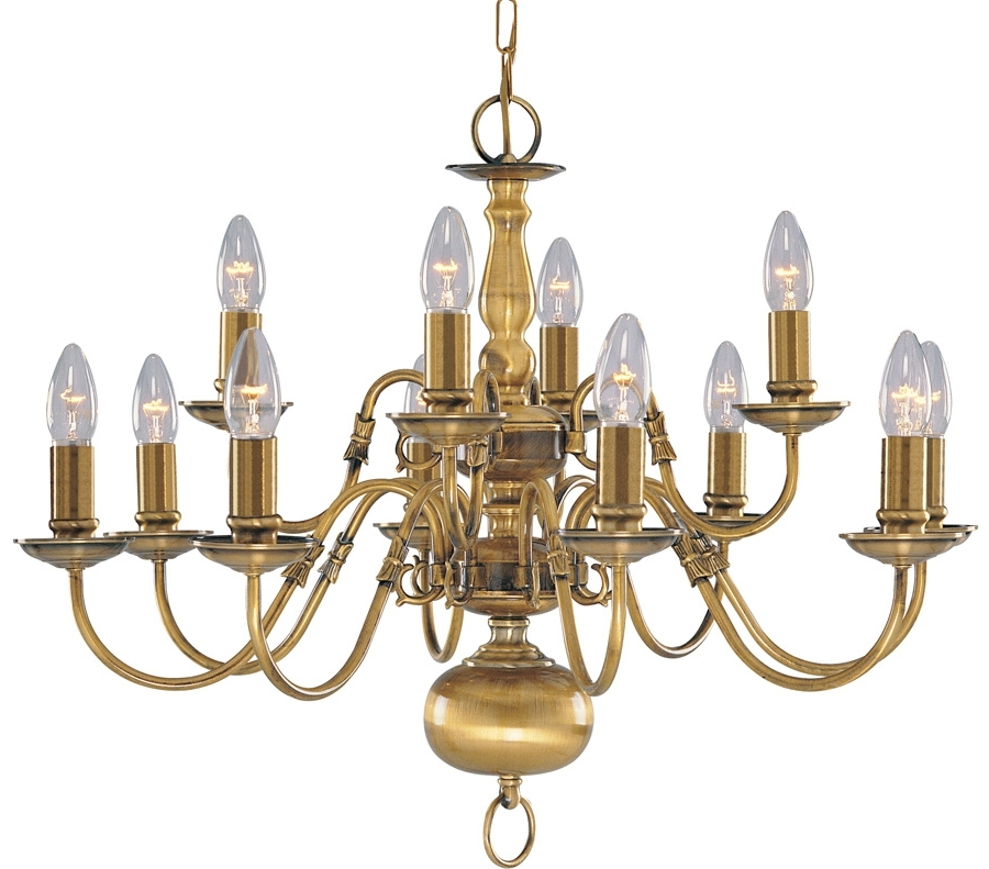 Most Recently Released Solid Antique Brass Flemish 12 Light Chandelier 1019 12ab With Regard To Traditional Brass Chandeliers (View 6 of 10)