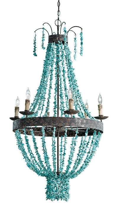 Most Recently Released This Turquoise Toluca Chandelier From Regina Andrew Design Features Intended For Turquoise Stone Chandelier Lighting (Gallery 6 of 10)