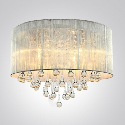 Most Recently Released Wall Mount Crystal Chandeliers With Regard To Silver Drum Shade And Rich Crystal Rainfall Flush Mount Chandelier (View 5 of 10)