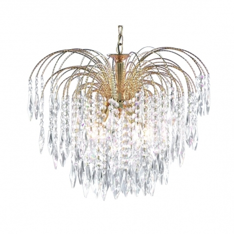Most Recently Released Waterfall Chandeliers Within Gold 5 Light Ceiling Chandelier Fixture With Crystal Decoration (View 10 of 10)