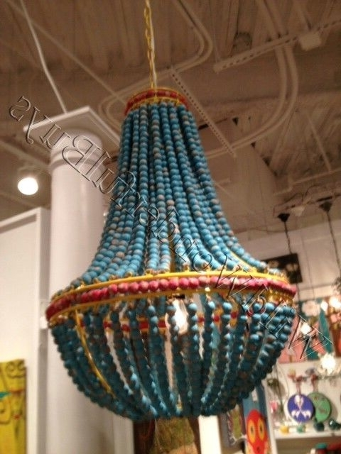Most Up To Date Ainsley Turquoise Wood Beads Chandelier Beaded Dining Light Aqua Intended For Turquoise Wood Bead Chandeliers (View 2 of 10)