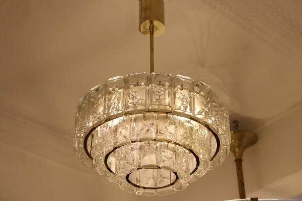 Most Up To Date Brass And Glass Chandelier Regarding Brass & Glass Chandelier From Doria, 1960S For Sale At Pamono (View 7 of 10)