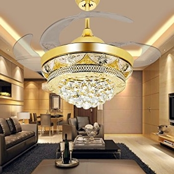 Most Up To Date Chandelier Lights For Living Room Regarding Colorled Modern Crystal Gold Ceiling Fan Light Kit For Living Room (View 5 of 10)