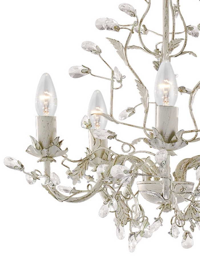 Most Up To Date Cream Gold Chandelier Within Almandite Cream / Gold 5 Light Chandelier With Crystal 2495 5Cr (View 8 of 10)