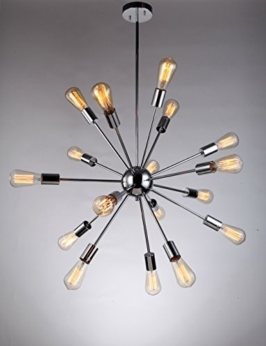 Most Up To Date Deking 18 Lights Pendant Light Silver Modern Satellite Style Sputnik Inside Chrome Sputnik Chandeliers (View 7 of 10)