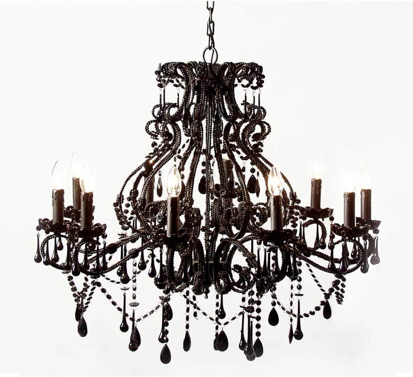 Most Up To Date Sassy Boo Large Black 10 Arm Chandelier French (View 2 of 10)