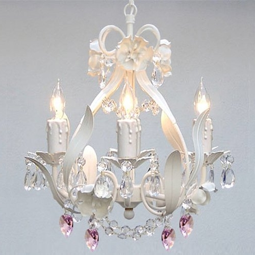 Most Up To Date White Iron Floral Crystal Flower Chandelier Lighting W/ Pink Crystal In Crystal Chandeliers For Baby Girl Room (View 7 of 10)