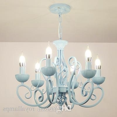 Multiple Chandelier Modern White/pink/blue Candle Iron Children's In Famous Modern White Chandelier (View 8 of 10)