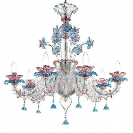 """Nada"""" Murano Glass Chandelier – Murano Glass Chandeliers Inside Most Recent Turquoise And Pink Chandeliers (View 9 of 10)"""
