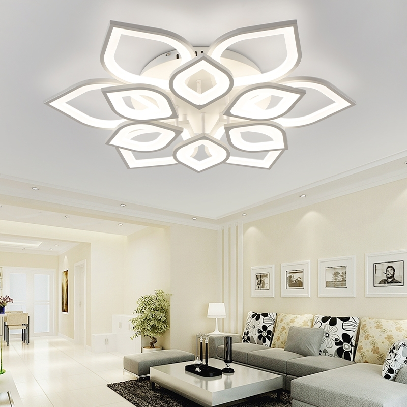 Neo Gleam New Acrylic Modern Led Ceiling Chandelier Lights For With Regard To Trendy Chandelier Lights For Living Room (View 2 of 10)