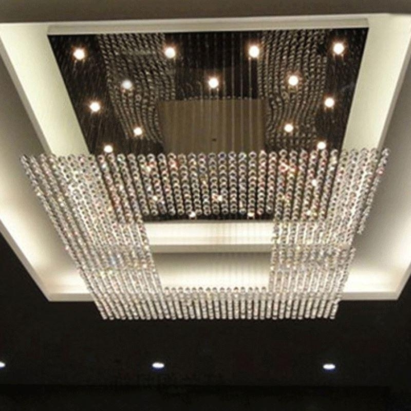 New Square Modern String Big Crystal Chandeliers Hotel Lobby Regarding Latest Big Chandeliers (View 9 of 10)