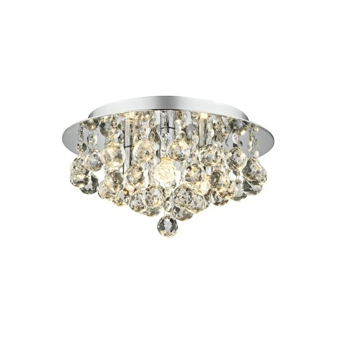 Newest Chrome Crystal Chandelier Light Fitting Ideal For Low Ceilings (View 9 of 10)