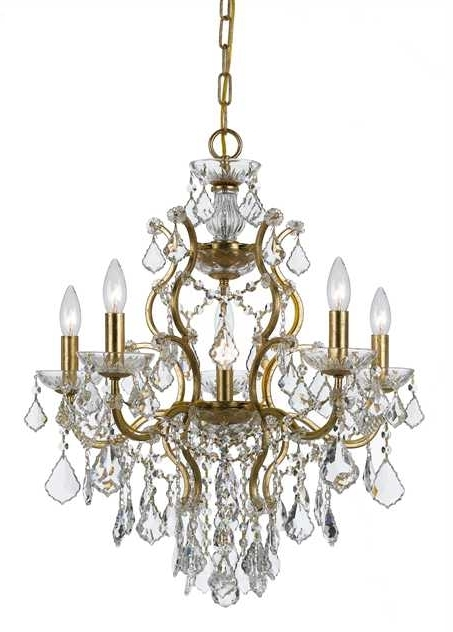 Newest Crystal Gold Chandeliers Regarding Crystorama – Crystorama Filmore 6 Light Crystal Gold Chandelier I (View 7 of 10)