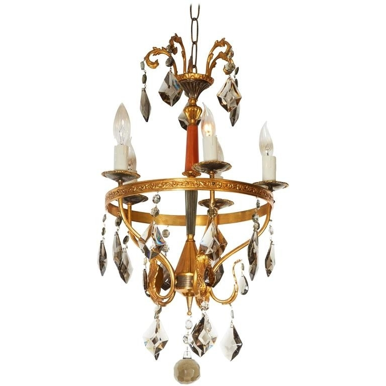 Newest Italian Chandelier Style Intended For Neoclassical Style Brass And Smoked Crystal Italian Chandelier (View 9 of 10)