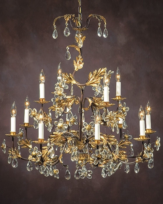 Newest Italian Chandeliers Intended For Wrought Iron Chandelier With Italian Glass Flowers (View 9 of 10)