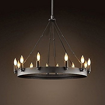 Newest Ladiqi Wrought Iron Chandelier Ceiling Light Industrial Vintage In Vintage Chandelier (View 5 of 10)