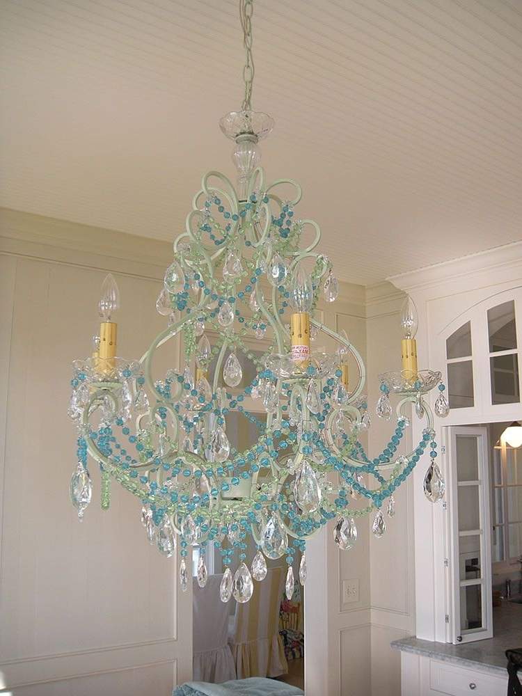 Newest Turquoise Blue Chandeliers Regarding Aqua Beaded Chandy! Switch Out The Bead Color To Vary The Look (but (View 8 of 10)