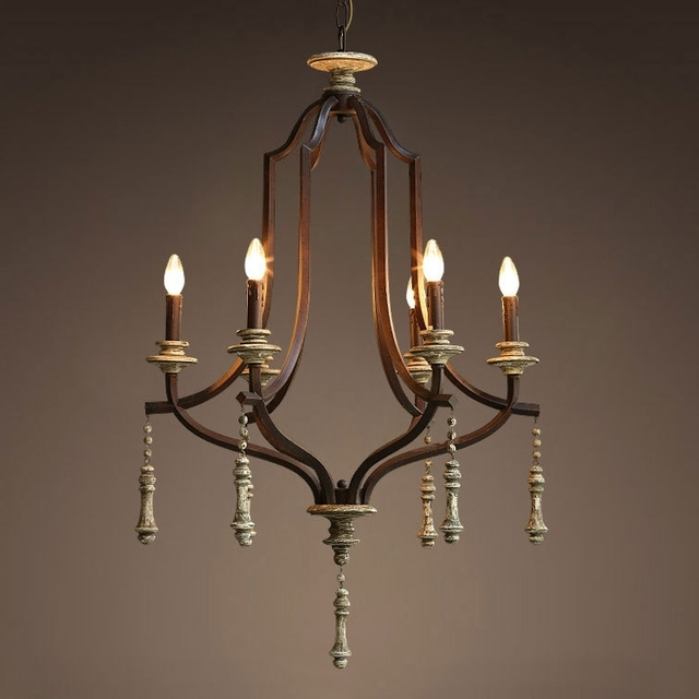 Nordic Expression / American / French / Country / Vintage Wrought Regarding Fashionable Vintage Wrought Iron Chandelier (View 3 of 10)