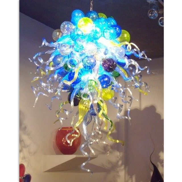 Ocean Style Turquoise Blue Bubbles Led Borosilicate Glass Chandelier Throughout Popular Turquoise Bubble Chandeliers (View 7 of 10)