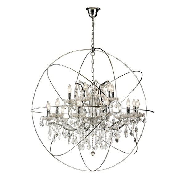 Orb Chandelier Throughout Widely Used 18 Light Iron/ Egyptian Crystal Orb Chandelier – Free Shipping Today (View 3 of 10)
