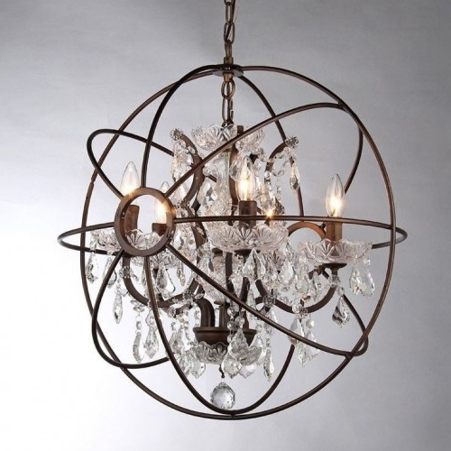 Orb Crystal Chandelier Rustic Iron Replica For Trendy Crystal Globe Chandelier (View 4 of 10)