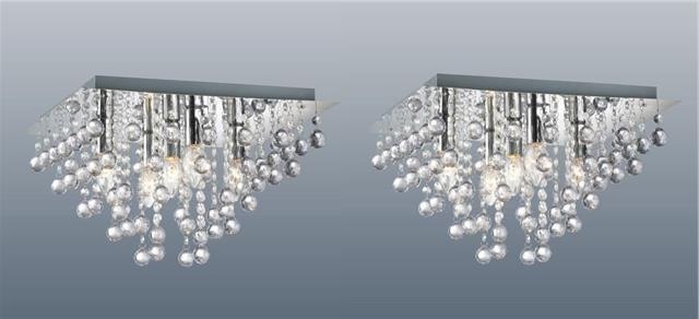 Pair Of Square 5 Light Chrome Ceiling Lights Flush Crystal Droplet Pertaining To Most Popular Flush Fitting Chandelier (View 6 of 10)