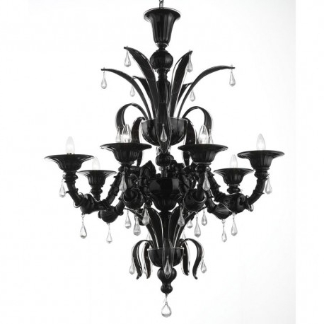 "Paradiso"" Black Murano Glass Chandelier – Murano Glass Chandeliers Throughout Most Up To Date Black Glass Chandelier (View 1 of 10)"