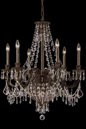 Paris Flea Nine Light Crystal Chandelier With English Bronze, Home Regarding Well Known Bronze And Crystal Chandeliers (View 7 of 10)
