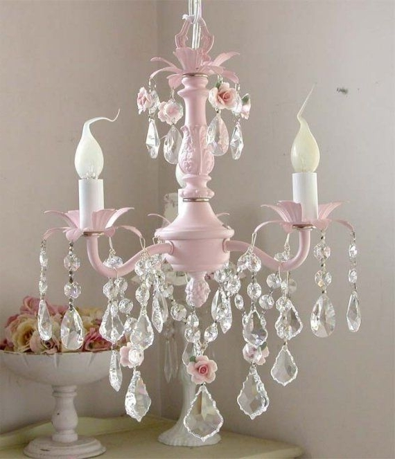 Pink Chandelier Pertaining To Best And Newest Crystal Chandeliers For Baby Girl Room (View 9 of 10)