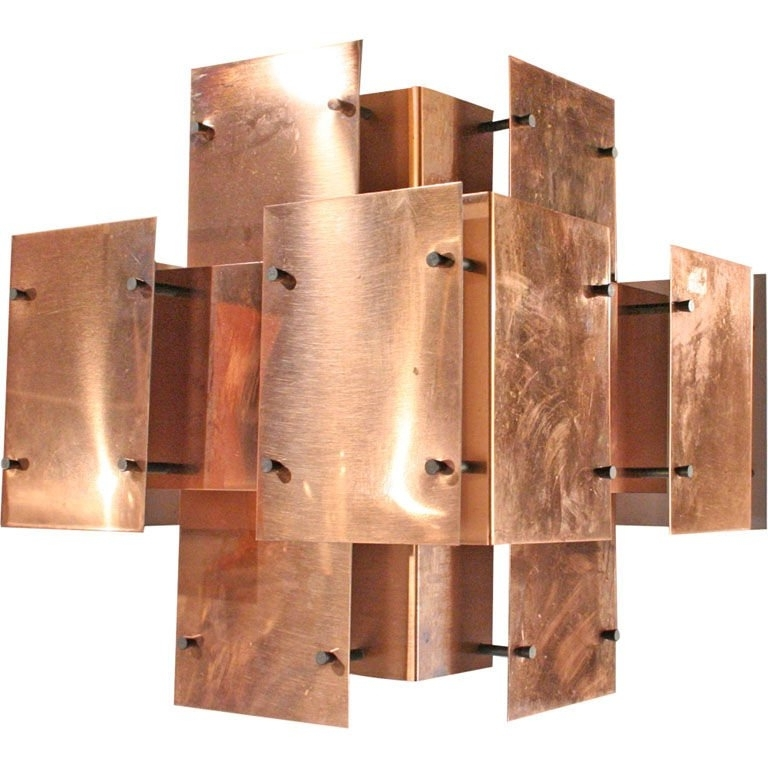 Polished Copper Floating Panel Chandelierrobert Sonneman For Intended For Well Known Copper Chandelier (View 6 of 10)
