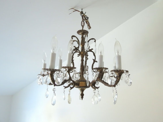 Popular Antique Brass Chandelier // Vintage Spanish Style Ornate Large Pertaining To Vintage Brass Chandeliers (View 8 of 10)