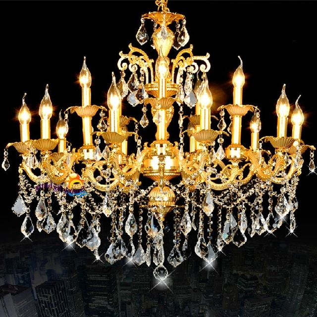 Popular Antique Led Candle Lamps Gold Crystal Chandeliers Hanging Light For Crystal Gold Chandeliers (View 4 of 10)