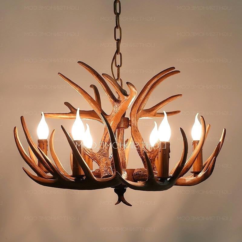 Popular Antlers Chandeliers Inside Faux Antler Chandelier White Vintage 6 Light Brown Resin Fixture (View 9 of 10)