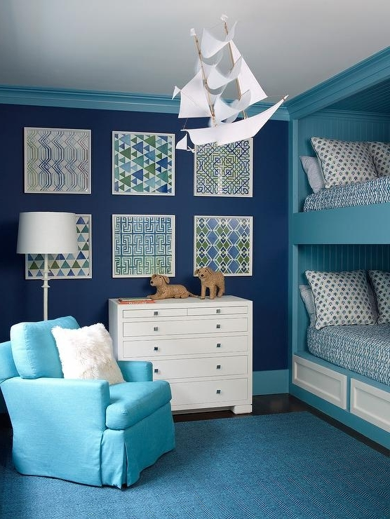 Popular Blue Boys Bedroom With Turquoise Shiplap Bunk Bed – Contemporary With Regard To Turquoise Bedroom Chandeliers (Gallery 1 of 10)