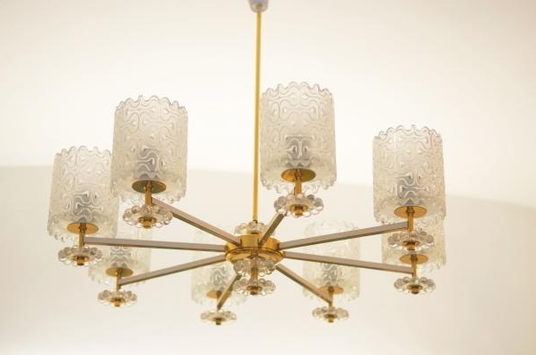 Popular Brass And Glass Chandelier With Vintage Brass And Glass Chandelier From Austria, 1970S For Sale At (View 10 of 10)