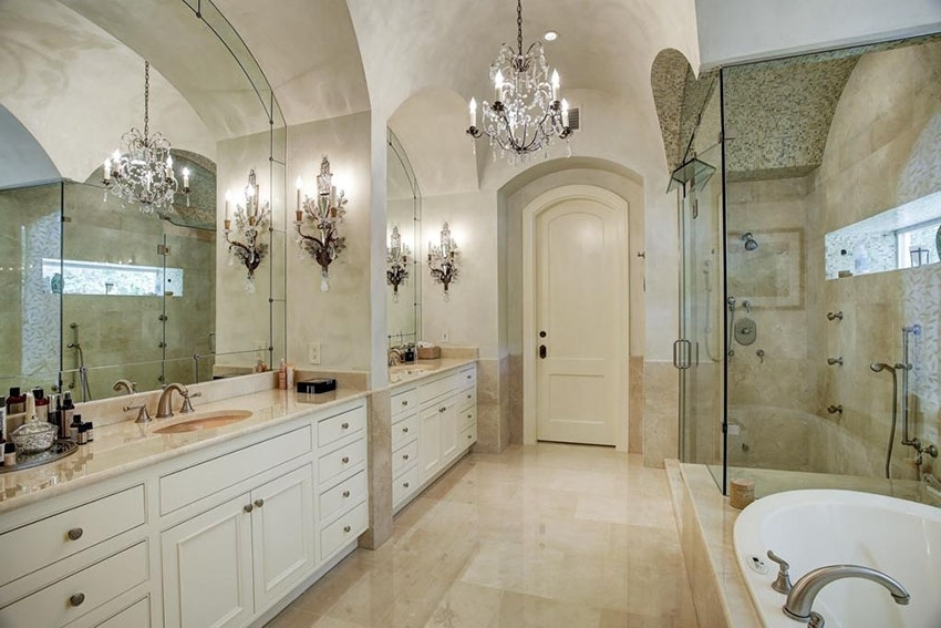 Popular Chandelier In The Bathroom In 27 Gorgeous Bathroom Chandelier Ideas – Designing Idea (View 10 of 10)