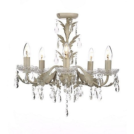 Popular Cream Chandeliers Throughout Home Collection Metal And Glass 'paisley Cream' Flush Chandelier (View 8 of 10)