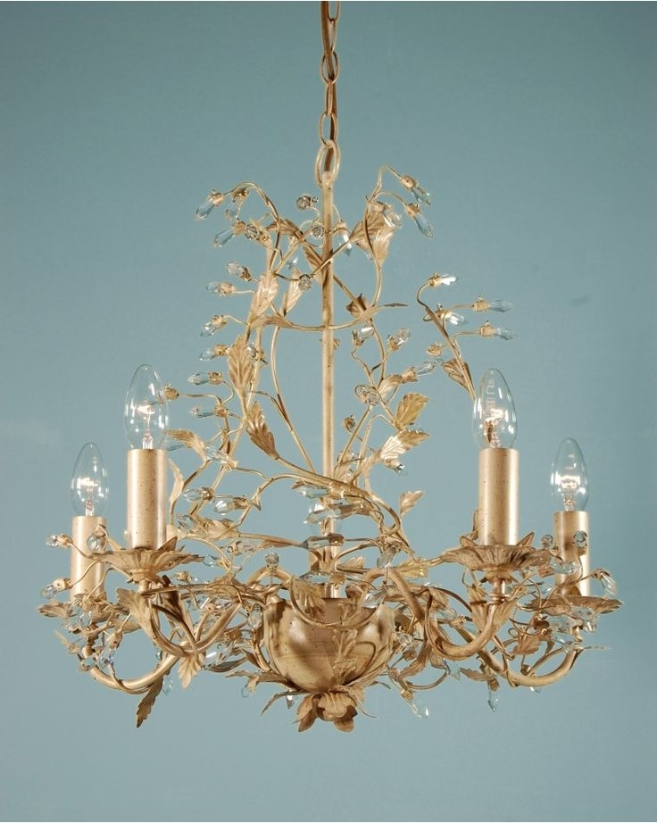 Popular Cream Gold Chandelier Pertaining To Chandeliers, Adele Five Branch Traditional Antique Cream Gold Leaf (View 9 of 10)