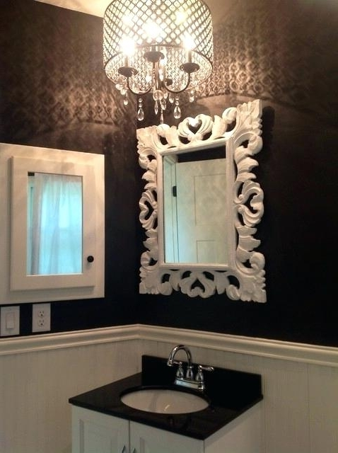 Popular Crystal Bathroom Chandelier Within Bathroom Chandelier Together With Black And White Bathroom With (View 6 of 10)