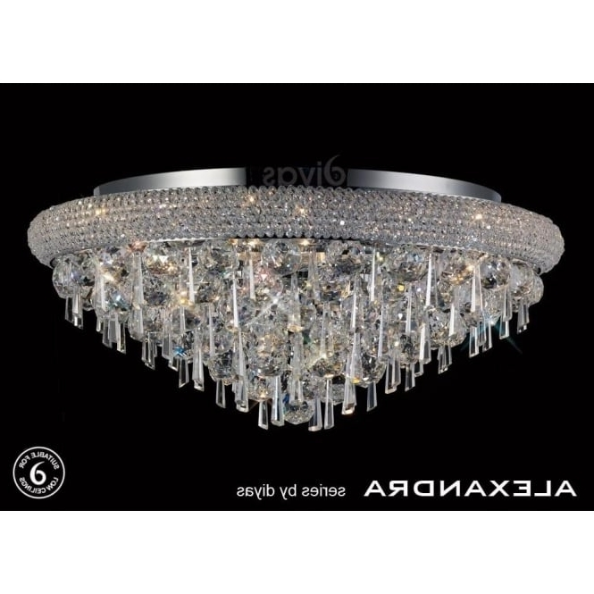 Popular Flush Chandelier Ceiling Lights Regarding Diyas Alexandra 9 Light Semi Flush Ceiling Fitting With Crystal (View 7 of 10)