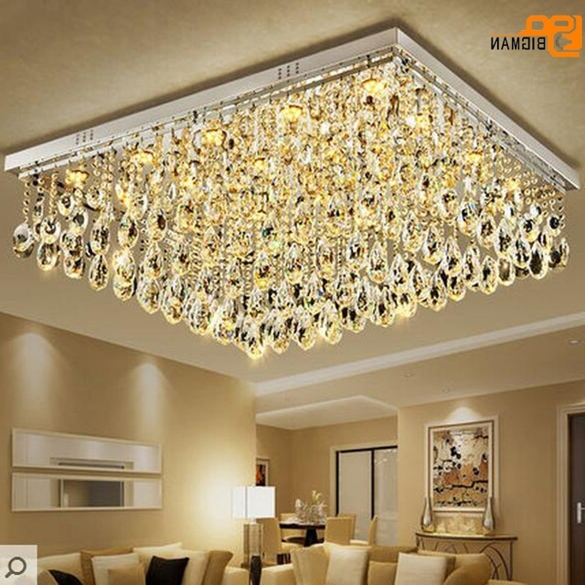 Popular Hotel Chandelier With Regard To New Large Modern Crystal Chandelier Living Room Lamp Flush Mount Led (View 4 of 10)