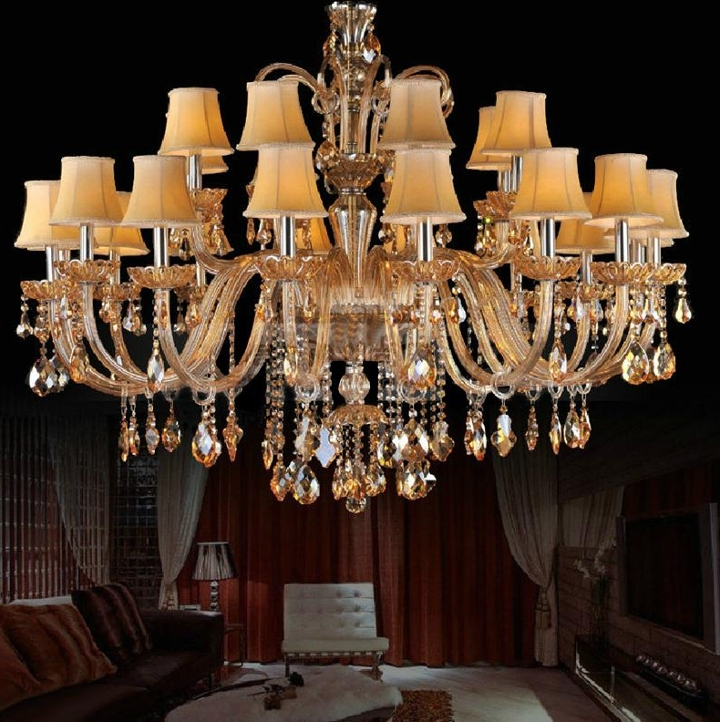 Popular Huge Chandeliers Pertaining To Huge Chandelier For Living Room Fabric Shade Crystal Chandelier (View 9 of 10)
