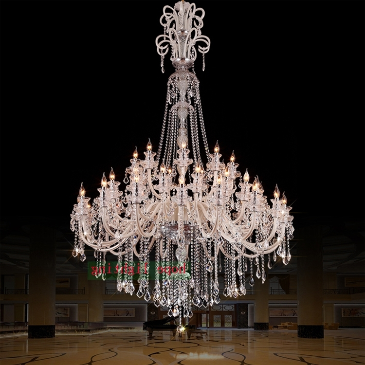 Popular Large Crystal Chandeliers Inside Large Crystal Chandeliers For Hotels Modern Chandelier High Ceiling (View 8 of 10)