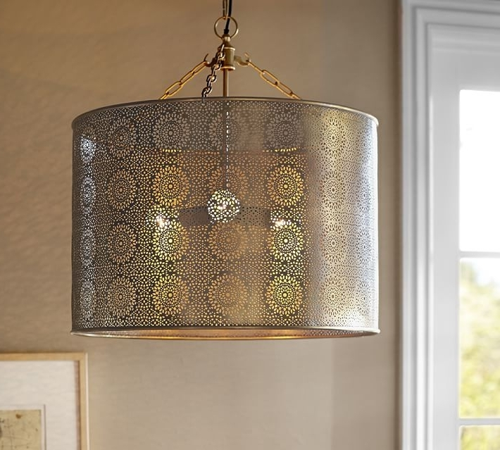 Popular Metal Drum Chandeliers For Taza Brass Punched Drum Pendant Pottery Barn Metal Drum Pendant (View 8 of 10)